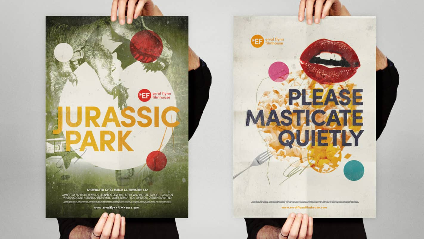 Royal & Derngate - Errol Flynn filmhouse branding posters