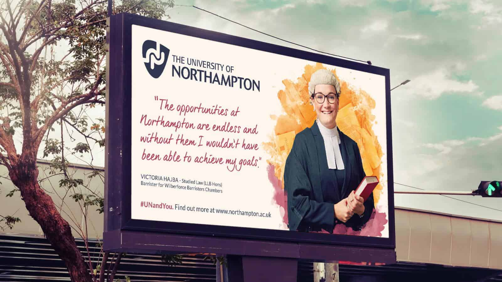 University of Northampton outdoor advertising for recruitment campaign