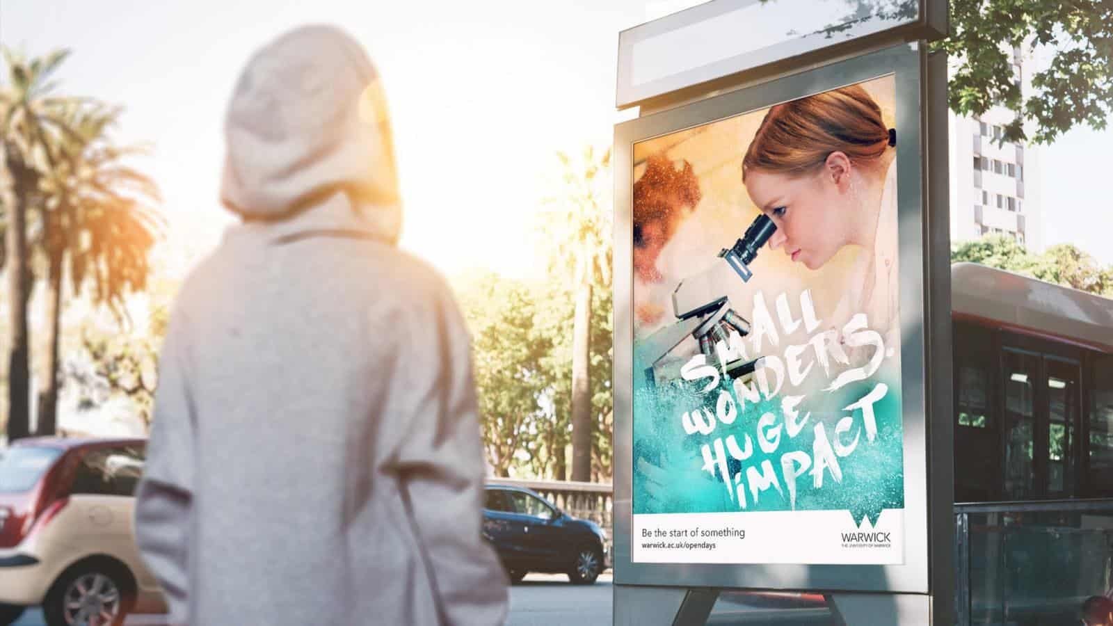University of Warwick undergraduate campaign outdoor advert