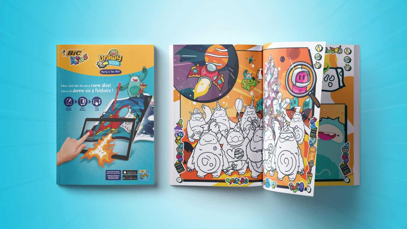 Bic Drawy book augmented reality colouring book