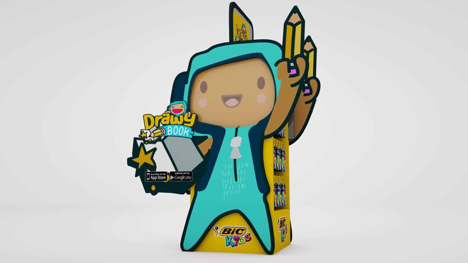 Bic Drawy book augmented reality colouring book POS
